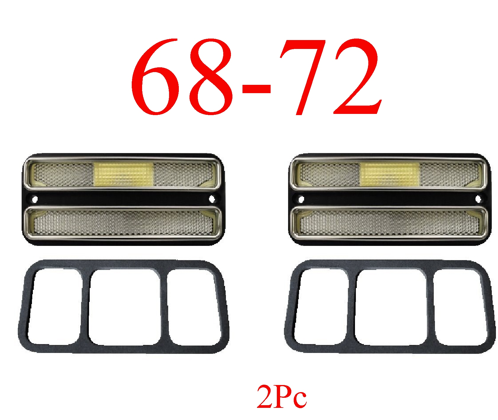 68-72 Chevy 2Pc Clear Rear Deluxe Side Lights